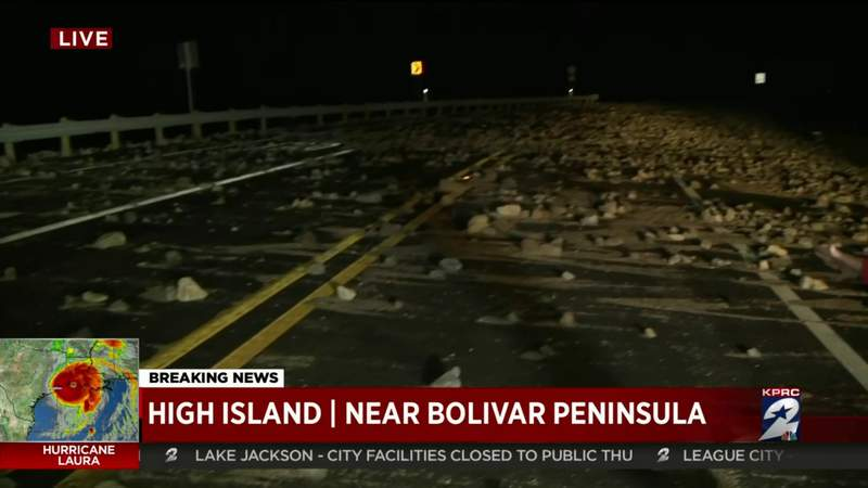 Roadway impassable by High Island near Bolivar Peninsula