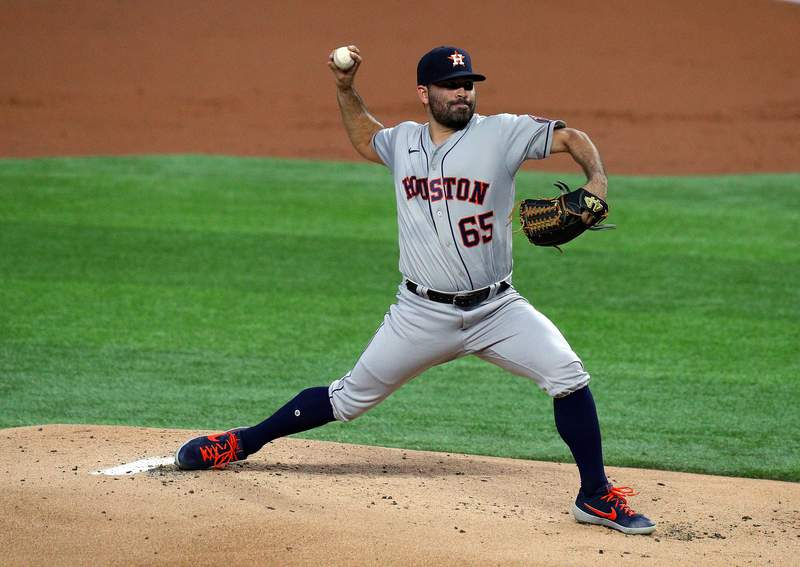 ARLINGTON, TEXAS - SEPTEMBER 25: Jose Urquidy #65 of the Houston Astros pitches in the first inning against the Houston Astros at Globe Life Field on September 25, 2020 in Arlington, Texas. (Photo by Richard Rodriguez/Getty Images)