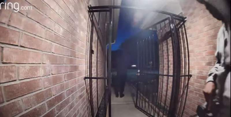 A screen still from a Houston Police Department video showing a Ring camera video.