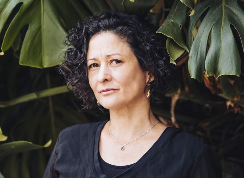 "This image provided by Penguin Random House shows Colombian author Pilar Quintana, winner of the Alfaguara novel prize for ""Los Abismos/The Abysses."" (Manuela Uribe/Penguin Random House via AP)"