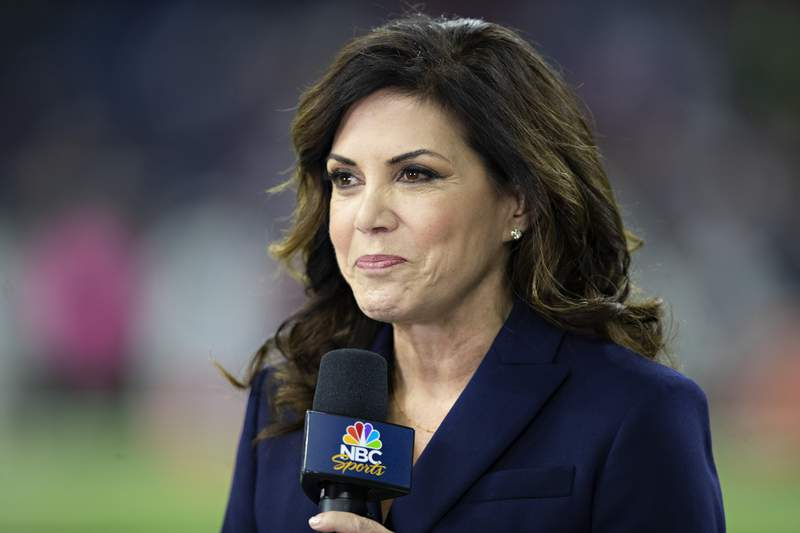 HOUSTON, TX - OCTOBER 7:  TV announcer Michele Tafoya on the field before a game between the Dallas Cowboys and the Houston Texans at NRG Stadium on October 7, 2018 in Houston, Texans.  The Texans defeated the Cowboys in overtime 19-16.  (Photo by Wesley Hitt/Getty Images)