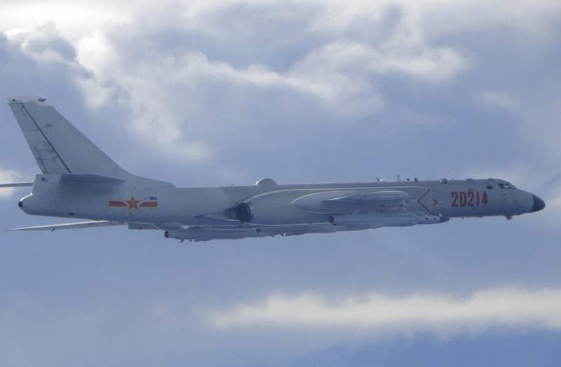 In this photo released by the Taiwan Ministry of National Defense, a Chinese People's Liberation Army H-6 bomber is seen flying near the Taiwan air defense identification zone, ADIZ, near Taiwan on Friday, Sept. 18, 2020. The second high-level U.S. envoy to visit Taiwan in two months began a day of closed-door meetings Friday as China conducted military drills near the Taiwan Strait after threatening retaliation. (Taiwan Ministry of National Defense via AP)
