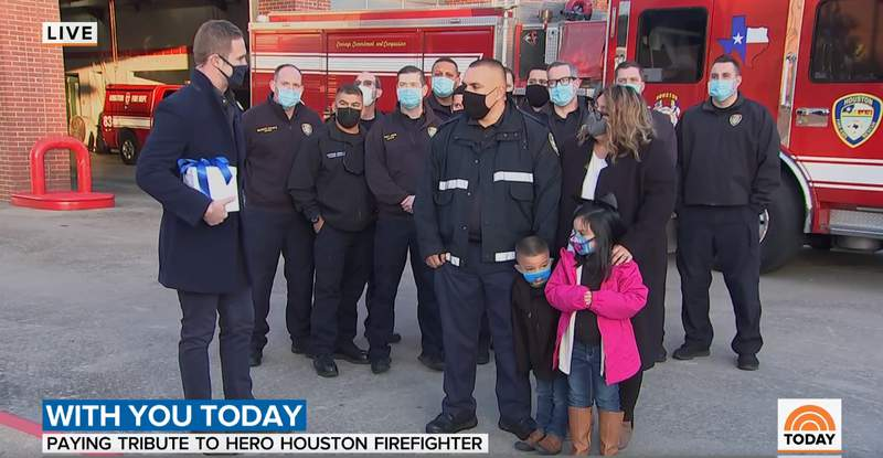 HFD Firefighter Josue Rios with NBC Correspondent Morgan Chesky during TODAY.