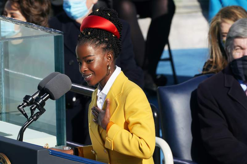 Inaugural poet Amanda Gorman delivers a poem during the inauguration of U.S. President Joe Biden on the West Front of the U.S. Capitol on Jan. 20, 2021 in Washington, D.C.
