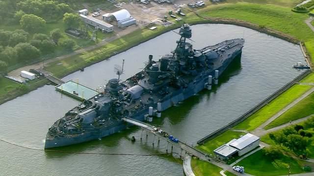 Battleship Texas is seen from the air June 12, 2017.