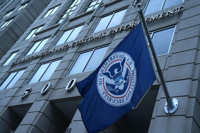 """WASHINGTON, DC - JULY 06:  An exterior view of U.S. Immigration and Customs Enforcement (ICE) agency headquarters is seen July 6, 2018 in Washington, DC. U.S. Vice President Mike Pence placed a visit to the agency and received a briefing on """"ICE's overall mission on enforcement and removal operations, countering illicit trade, and human smuggling.""""  (Photo by Alex Wong/Getty Images)"""