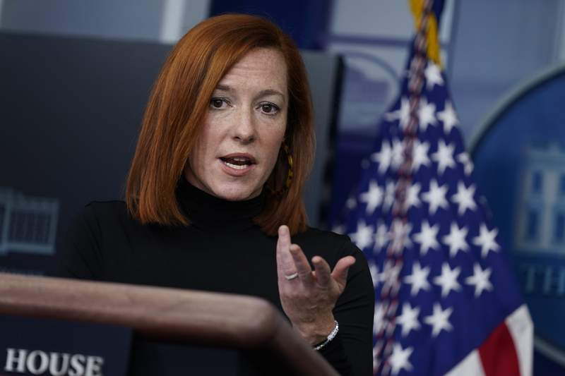 White House press secretary Jen Psaki speaks during a press briefing at the White House, Wednesday, Feb. 3, 2021, in Washington. (AP Photo/Evan Vucci)