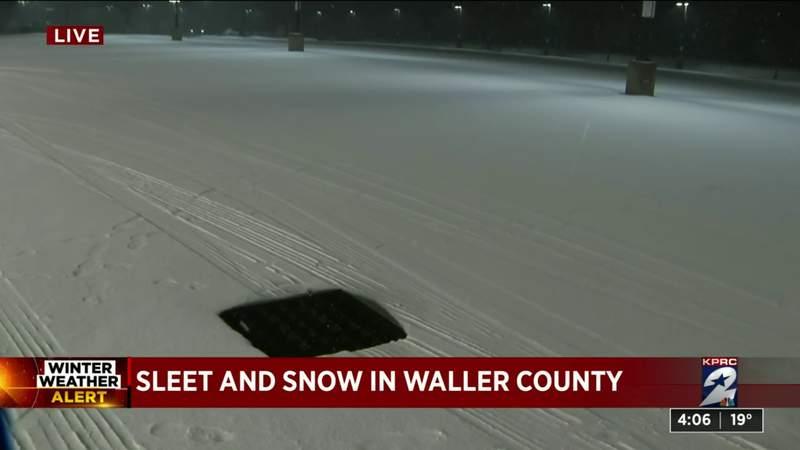 Sleet, snow in Waller County