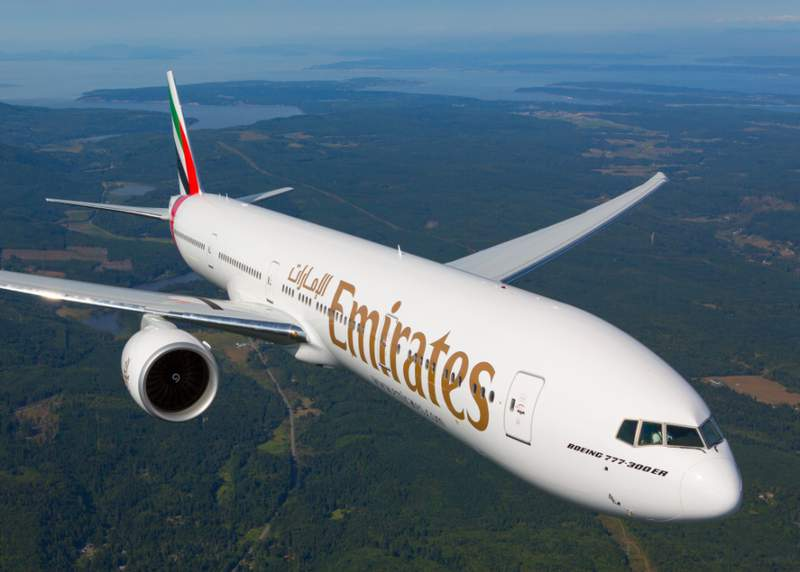 Screenshot image of an Emirates plane