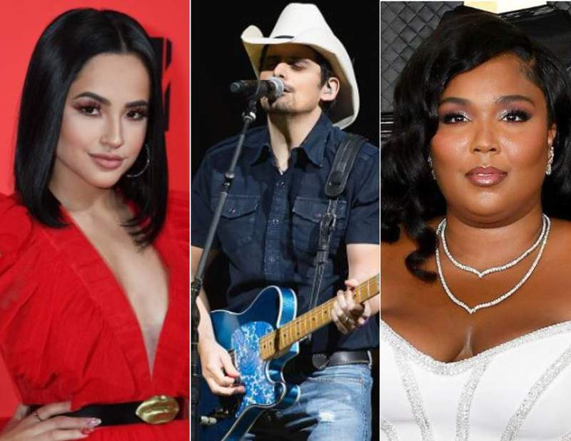 Becky G photo by Jeff Kravitz/FilmMagic, Brad Paisley photo by Rick Kern/WireImage, Lizzo photo by Amy Sussman/Getty Images