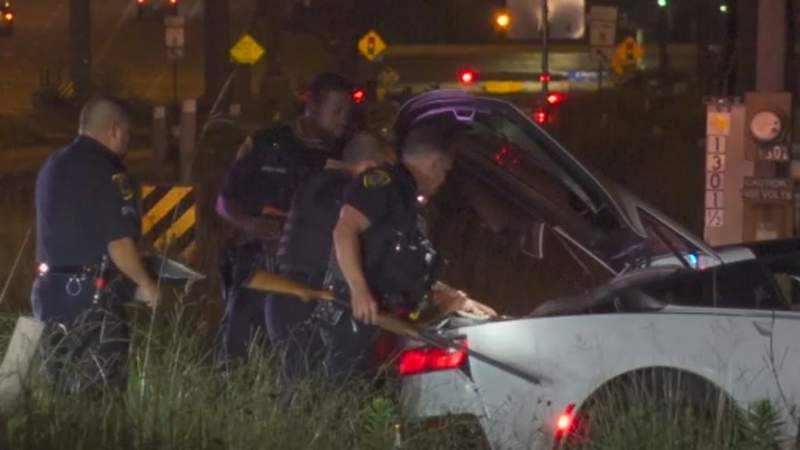 A police chase in northeast Houston ended with one man in handcuffs.