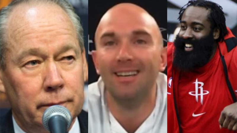 Jim Crane, Jack Easterby, and James Harden.