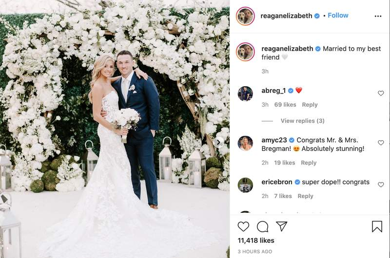 Astros third baseman Alex Bregman and Reagan Howard have tied the knot, according to the bride's Instagram account.