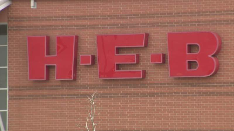 The H-E-B logo is seen at a store in Houston on March 16, 2020.