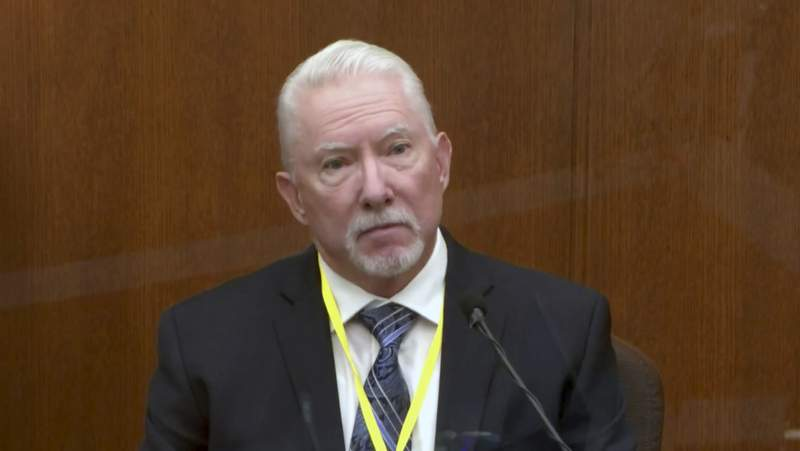 In this image from video, Barry Brodd, a use of force expert testifies as Hennepin County Judge Peter Cahill presides, Tuesday, April 13, 2021, in the trial of former Minneapolis police Officer Derek Chauvin at the Hennepin County Courthouse in Minneapolis, Minn. Chauvin is charged in the May 25, 2020 death of George Floyd. (Court TV via AP, Pool)