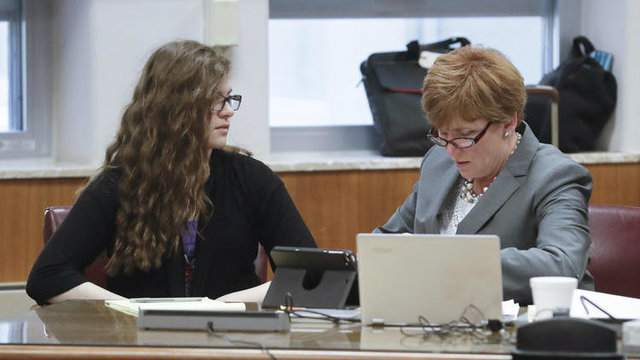 Anissa Weier, left, talks to her attorney, Maura McMahon, during jury selection