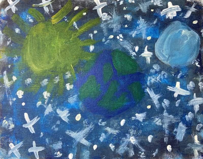 Space artwork by 9-year-old Yarelis Rivera from Pasadena