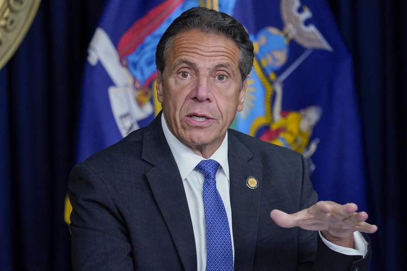New York Gov. Andrew Cuomo speaks during a news conference, Wednesday, June 23, 2021, in New York.  Cuomos campaign contributors say theyre still planning to donate money for his re-election, despite ongoing investigations into allegations that he sexually harassed employees and manipulated data on COVID-19 fatalities in nursing homes.  (AP Photo/Mary Altaffer)