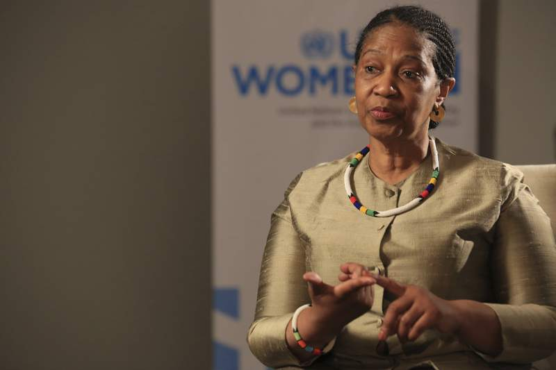 FILE - In this Tuesday, Nov. 5, 2019, file photo, Phumzile Mlambo-Ngcuka, United Nations Under-Secretary-General and Executive Director of U.N. Women, speaks during an interview with The Associated Press in Sarajevo, Bosnia-Herzegovina. An international conference opening in Paris on Wednesday, June 30, 2021, aims to fast-track the slow road to gender equality and mobilize millions of dollars to achieve the long-sought goal quickly, Mlambo-Ngcuka says. (AP Photo/Kemal Softic, File)