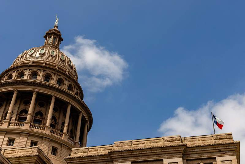 The Texas Capitol on April 12, 2021. (Credit: Jordan Vonderhaar for The Texas Tribune)