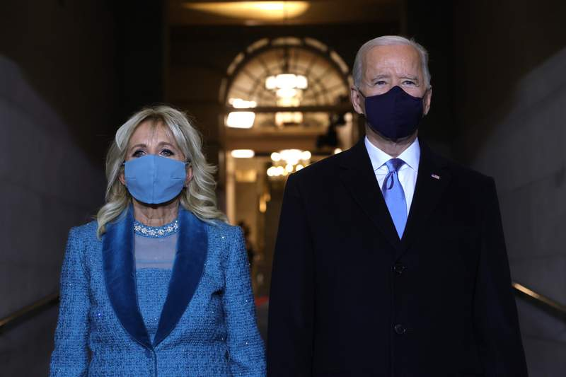 President Joe Biden and First Lady Jill Biden arrive at his Biden's inauguration on the West Front of the U.S. Capitol on January 20, 2021 in Washington, DC.(Photo by Win McNamee/Getty Images)