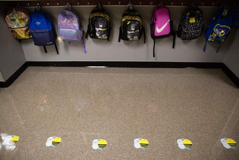 Social distance markers are on the ground to enforce COVID-19 safety at Highland Village Elementary on Sept. 8, 2020.