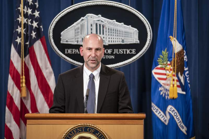 Steven D'Antuono, head of the Federal Bureau of Investigation (FBI) Washington field office, speaks during a news conference Tuesday, Jan. 12, 2021, in Washington. Federal prosecutors are looking at bringing significant cases involving possible sedition and conspiracy charges in last weeks riot at the U.S. Capitol. (Sarah Silbiger/Pool via AP)