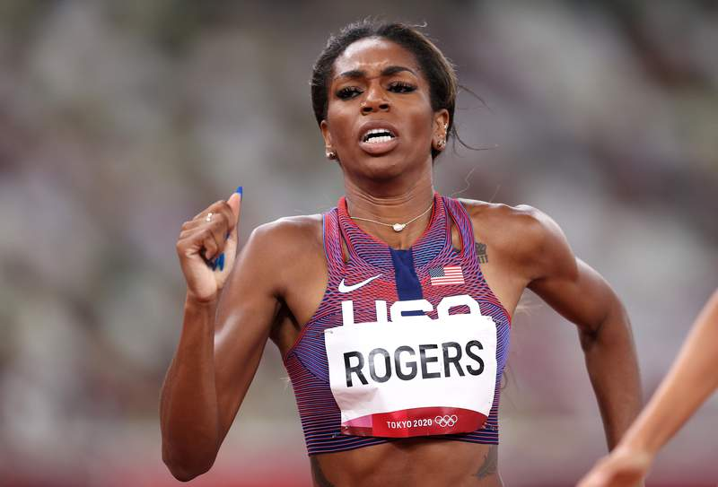 TOKYO, JAPAN - JULY 31: Raevyn Rogers of Team United States competes in the Women's 800m Semi-Final on day eight of the Tokyo 2020 Olympic Games at Olympic Stadium on July 31, 2021 in Tokyo, Japan. (Photo by Patrick Smith/Getty Images)