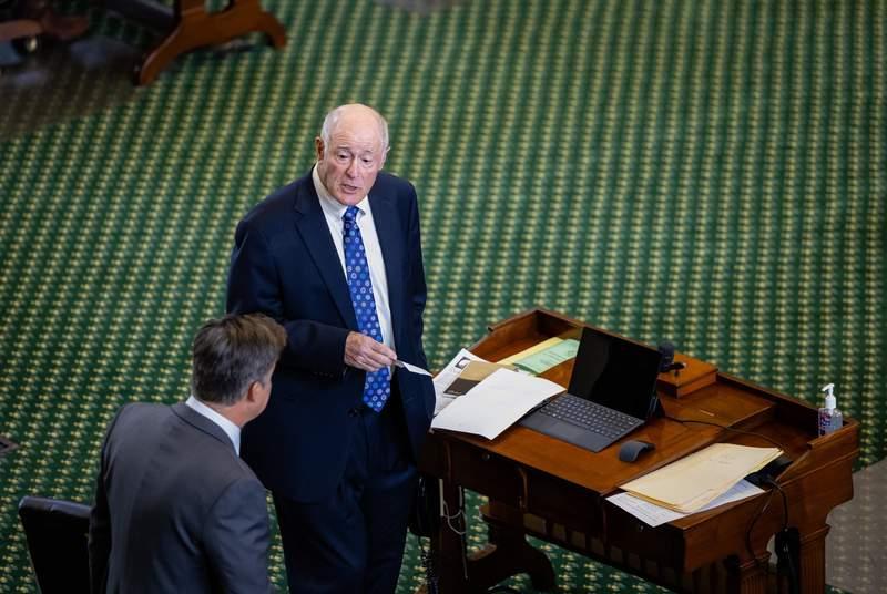 State Sen. Kel Seliger, R-Amarillo, speaks to his colleague on the Senate Floor on April 12, 2021.