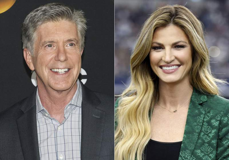 """This combination photo shows """"Dancing With the Stars"""" co-hosts, Tom Bergeron, left, and Erin Andrews who will not be returning to the popular celebrity dance competition series. ABC said in a statement that the show is looking to embark on a new creative direction."""" (AP Photo)"""
