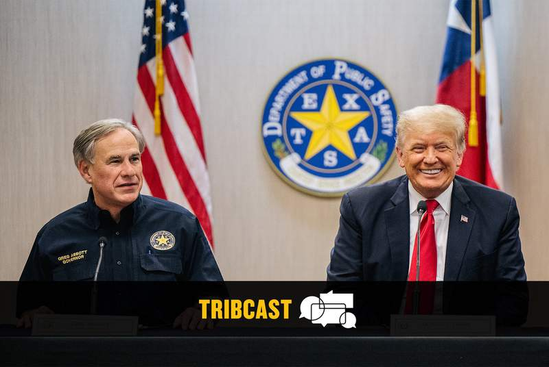 Gov. Greg Abbott and former President Donald Trump during a border security briefing in Weslaco on June 30, 2021.