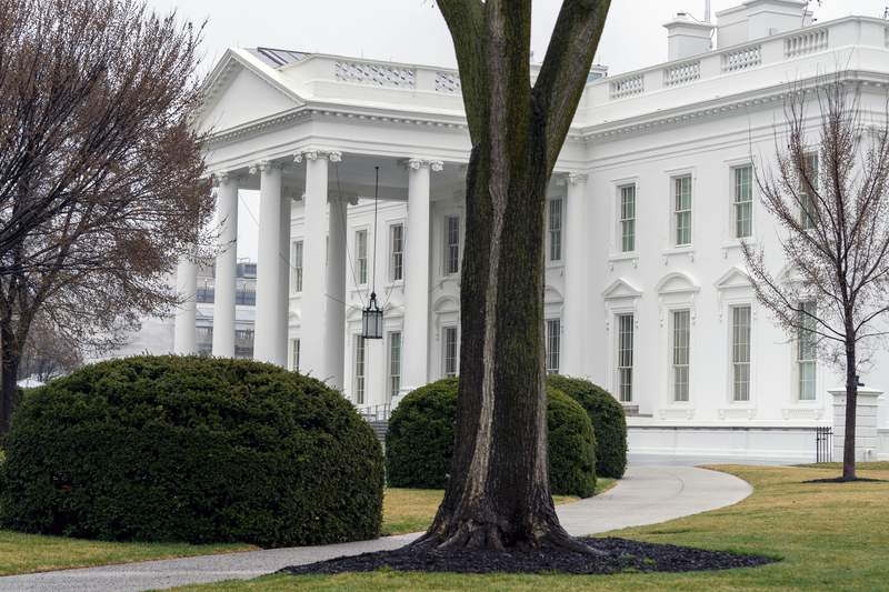 "In this March 18, 2021 photo, the White House is shown in Washington. Five White House staffers have been fired because of their past use of drugs, including marijuana. White House press secretary Jen Psaki said Friday ""there were additional factors at play in many instances for the small number of individuals who were terminated."" (AP Photo/Andrew Harnik)"