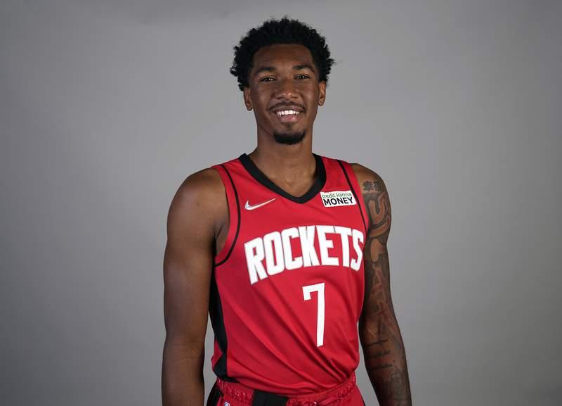 Houston Rockets' Armoni Brooks poses for a photograph during an NBA basketball media day Monday, Sept. 27, 2021, in Houston. (AP Photo/David J. Phillip)