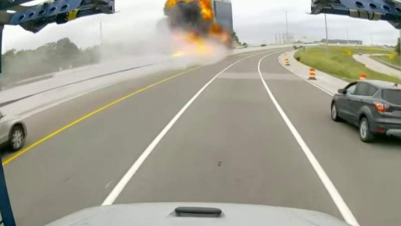 Video captures moments before tanker truck explosion on I-75 in Troy