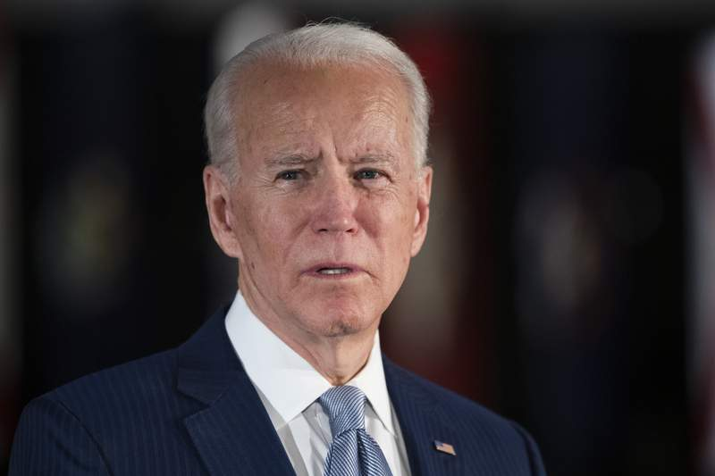 Democratic presidential candidate former Vice President Joe Biden speaks to members of the press at the National Constitution Center in Philadelphia, Tuesday, March 10, 2020. (AP Photo/Matt Rourke)