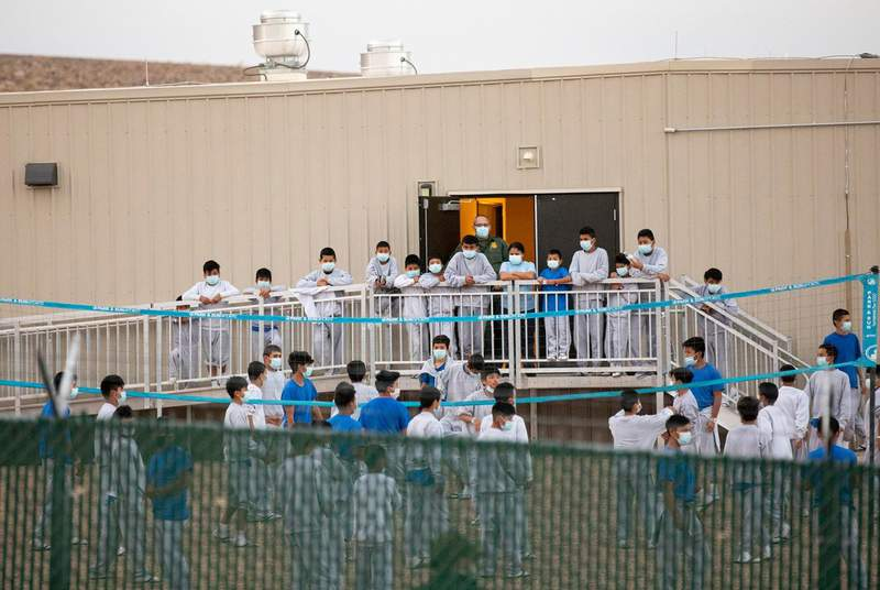 Unaccompanied migrants at the Customs and Border Patrol migrant processing center in El Paso on March 29, 2021.