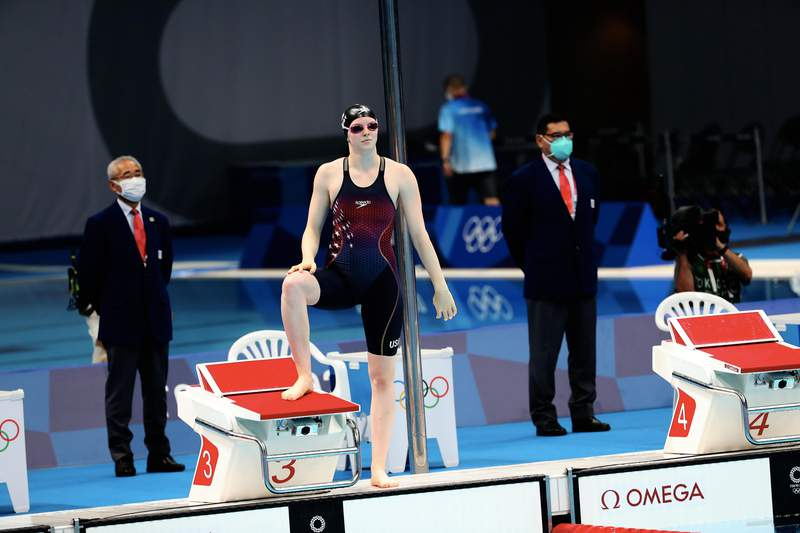 TOKYO, JAPAN - JULY 27: Lydia Jacoby of Team Unites States reacts before the Women's 100m breatstroke final on day four of the Tokyo 2020 Olympic Games at Tokyo Aquatics Centre on July 27, 2021 in Tokyo, Japan. (Photo by Xavier Laine/Getty Images)
