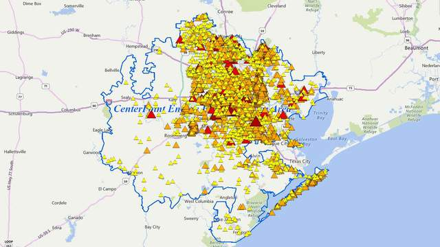 Houston Power Outage Map Power outages reported across Houston area