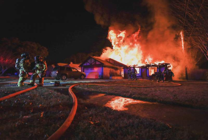 Cy-Fair Fire Department responds to a 1-alarm fire in the 4800 block of Pine Cliff Drive on Feb. 16, 2021, in Houston