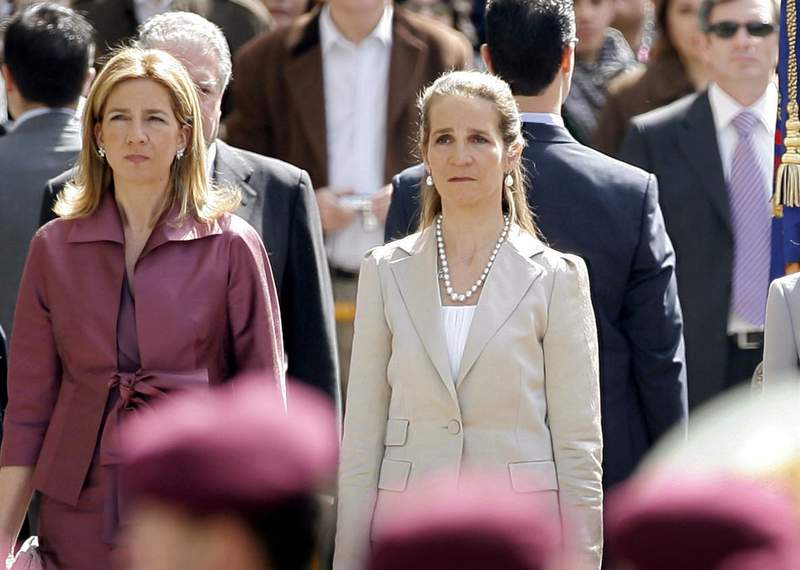 FILE - In this Wednesdday, April 16, 2008 file photo, Spain's Princess Cristina, left and Princess Elena, listen to the Spanish national anthem during a ceremony, upon their arrival for the opening of the Spanish Parliament, after Jose Luis Rodriguez Zapatero's Socialist Party won the general elections on March 9, in Madrid. The sisters of Spanish King Felipe VI have acknowledged on Wednesday, March 3, 2021, that they were administered COVID-19 vaccines during a visit to the United Arab Emirates. In a statement published by a Spanish newspaper, the Infantas Elena and Cristina said that they were offered the possibility of receiving vaccines while in Abu Dhabi to visit their father and former monarch, Juan Carlos I.  (AP Photo/Daniel Ochoa de Olza, File)