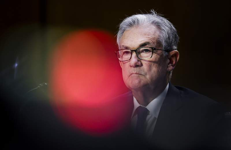 Federal Reserve Chairman Jerome Powell testifies during a Senate Banking, Housing and Urban Affairs Committee hearing on the CARES Act on Capitol Hill, Tuesday, Sept. 28, 2021 in Washington. (Kevin Dietsch/Pool via AP)