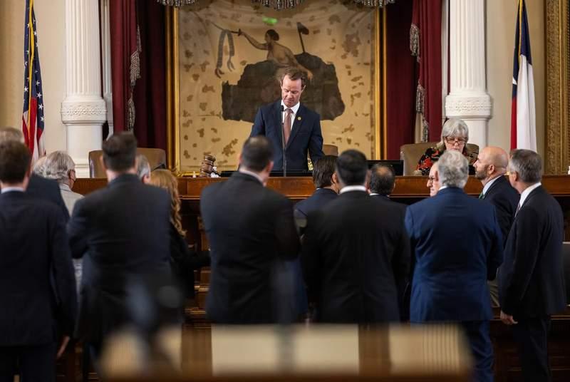 Speaker Dade Phelan presides over the Texas House of Representatives on Aug. 16, 2021.