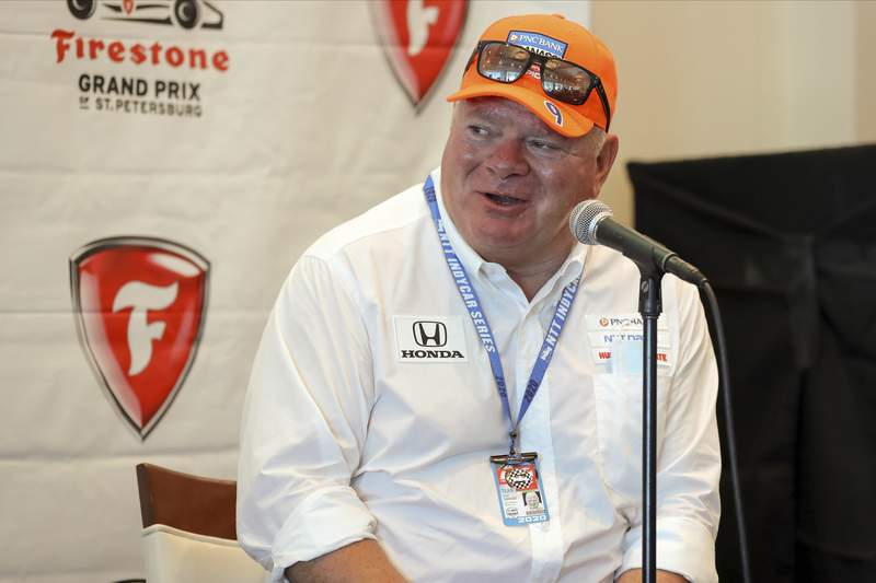 Chip Ganassi speaks about driver Jimmie Johnson joining his IndyCar team for next season at a press conference during the IndyCar race weekend Saturday, Oct. 24, 2020, in St. Petersburg, Fla. (AP Photo/Mike Carlson)