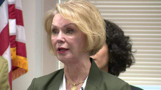 Harris County Clerk Dr. Diane Trautman discusses the Countywide Polling Place Program Friday.