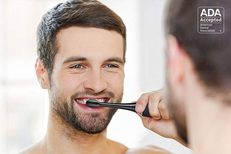 The AquaSonic Black Series Toothbrush removes up to 10 times more plaque than a traditional brush.