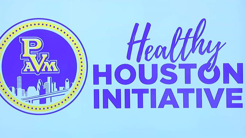 The Healthy Houston Initiative logo is seen on a screen at a news conference at Houston City Hall on Oct. 12, 2020.