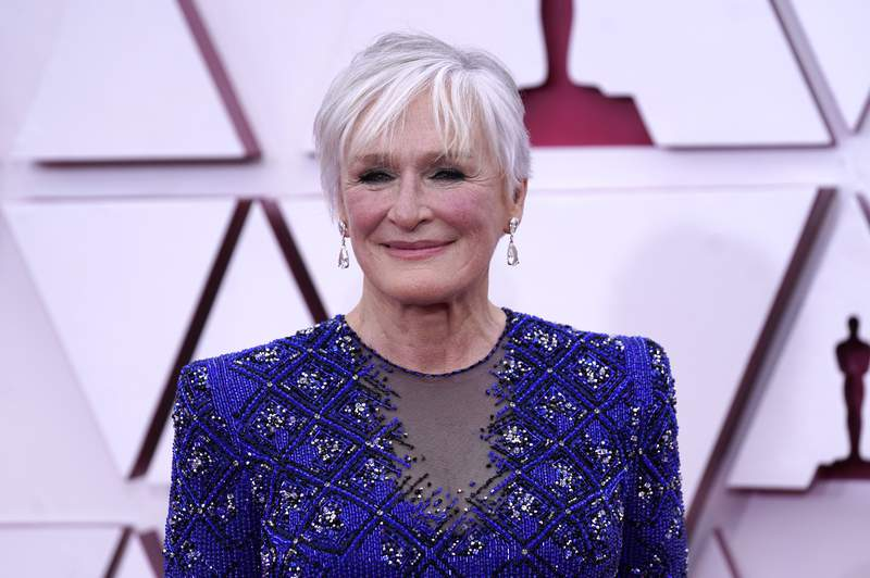 Glenn Close arrives at the Oscars on Sunday, April 25, 2021, at Union Station in Los Angeles. (AP Photo/Chris Pizzello, Pool)