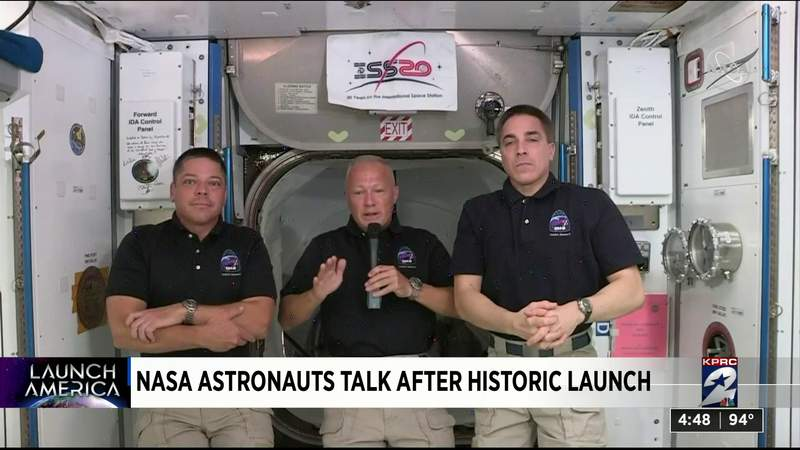 Nasa astronauts talk after historic launch