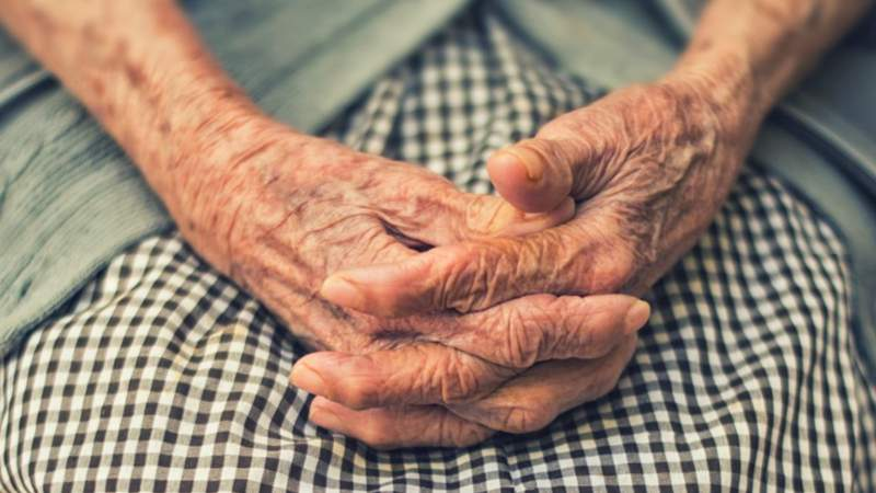 File photo: The hands of an elderly woman.