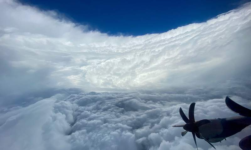 This photo provided by Air Force Reserve shows a sky view of Hurricane Epsilon taken by Air Force Reserve hurricane hunter team over the Atlantic Ocean taken Wednesday, Oct. 21, 2020.   Epsilons maximum sustained winds have dropped slightly as it prepares to sideswipe Bermuda on a path over the Atlantic Ocean.  The National Hurricane Center says it should come close enough Thursday, Oct. 22, evening to merit a tropical storm warning for the island.  (Air Force Reserve via AP)